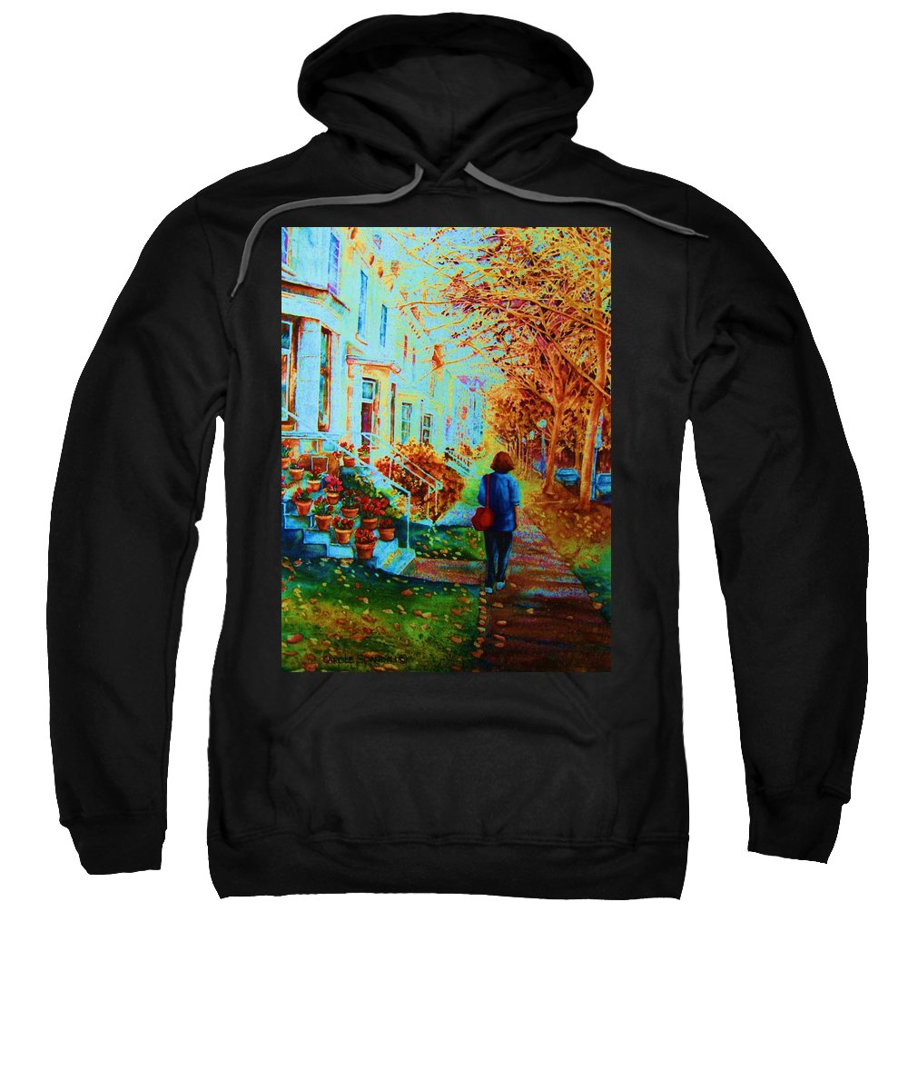 Montreal Sweatshirt featuring the painting Autumn In Westmount by Carole Spandau