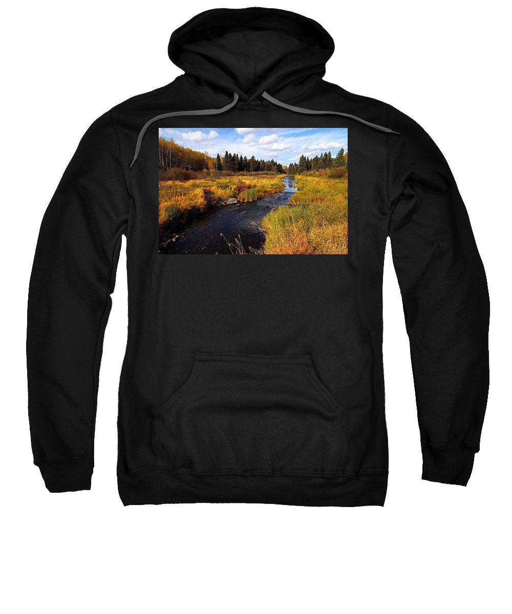 Riding Mountain National Park Sweatshirt featuring the photograph Autumn On Jackfish Creek by Larry Ricker