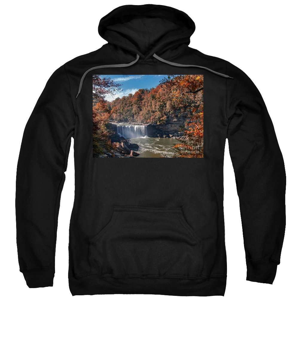 Kentucky Sweatshirt featuring the photograph Autumn On The Cumberland Cumberland Falls by Ken Frischkorn