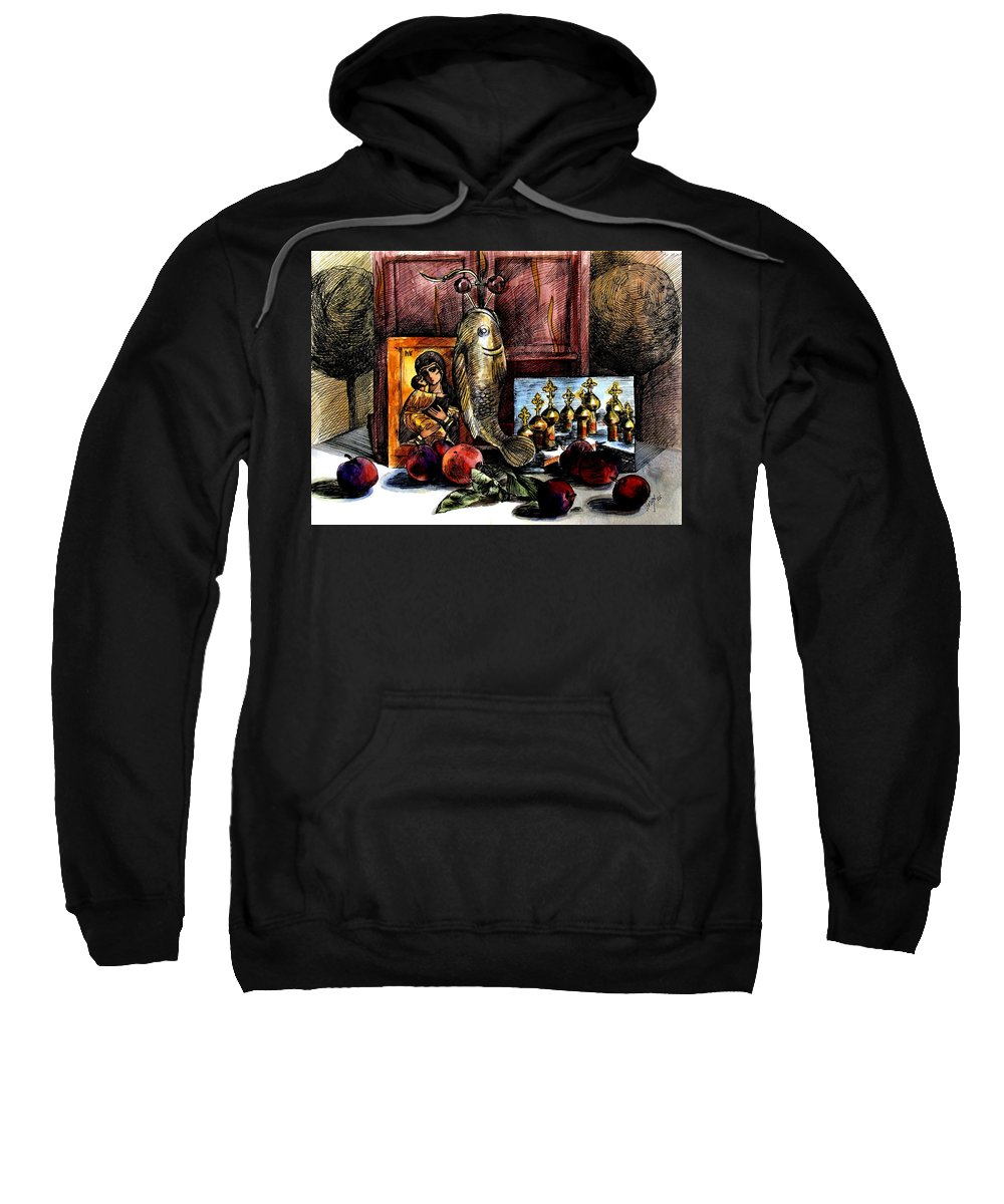 Madonna Sweatshirt featuring the painting Autumn Prayer by Inga Vereshchagina