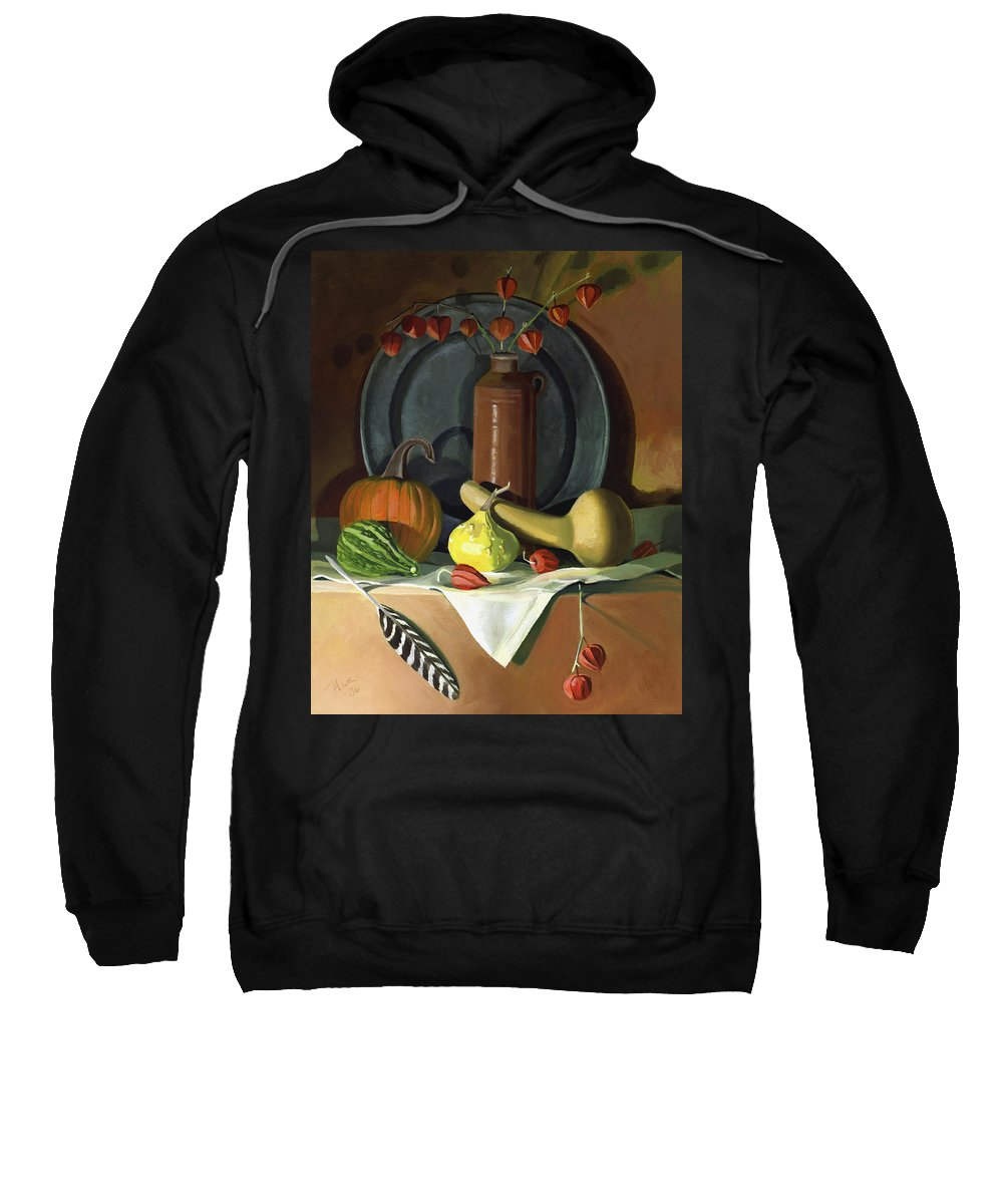 Still Life Sweatshirt featuring the painting Autumn Still Life by Nancy Griswold