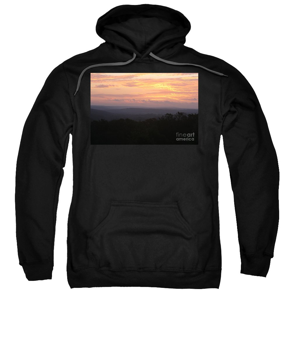 Sunrise Sweatshirt featuring the photograph Autumn Sunrise Over The Ozarks by Nadine Rippelmeyer