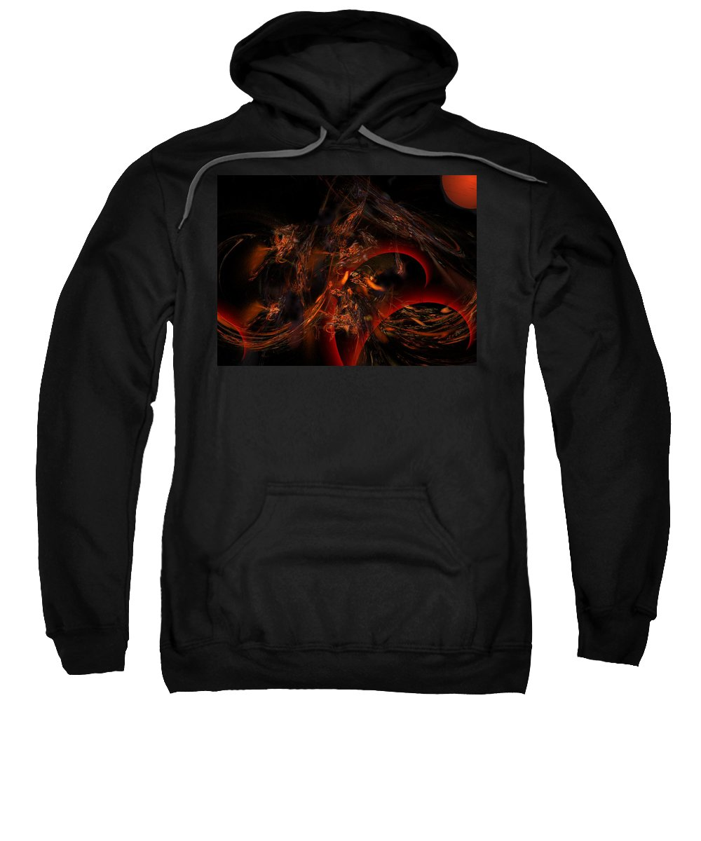 Abstract Digital Painting Sweatshirt featuring the digital art Autums Winds 2 by David Lane
