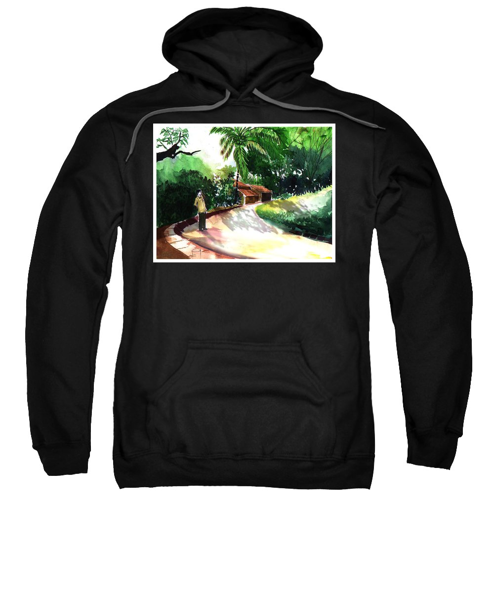 Water Color Watercolor Landscape Greenery Sweatshirt featuring the painting Awe by Anil Nene