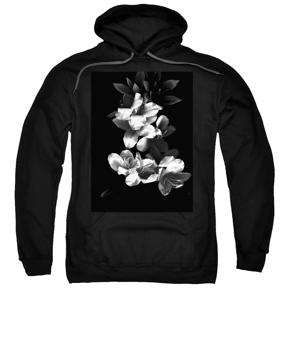 Azaela Sweatshirt featuring the photograph Azaela Blossom In Black And White by Wayne Potrafka
