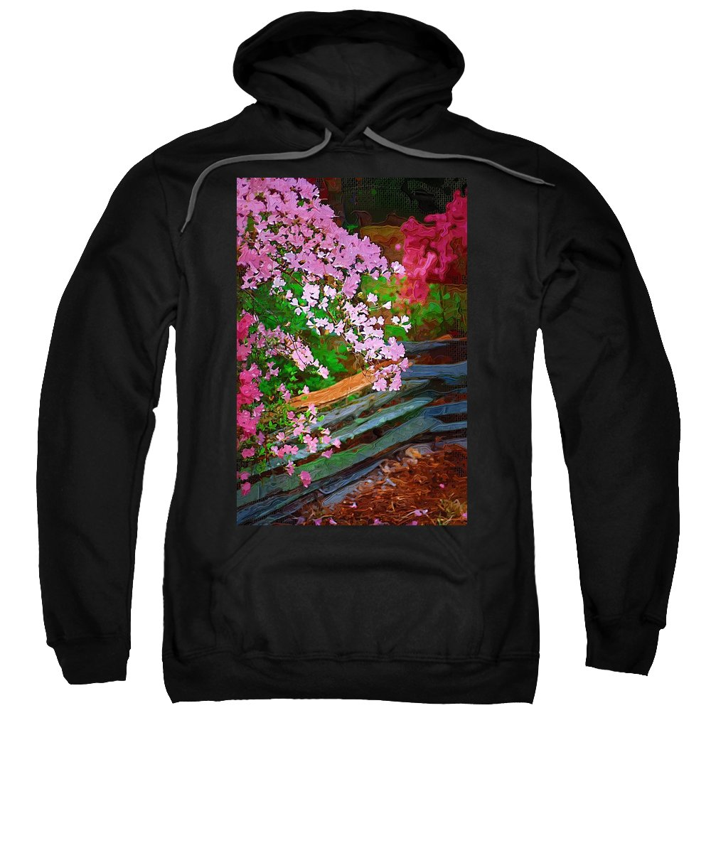 Flowers Sweatshirt featuring the photograph Azaleas Over The Fence by Donna Bentley