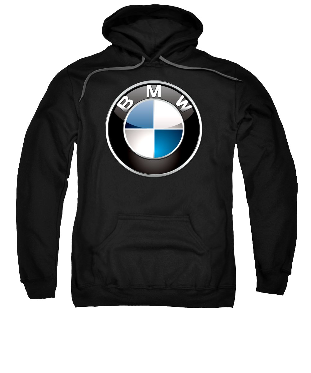 �wheels Of Fortune� Collection By Serge Averbukh Sweatshirt featuring the photograph B M W 3 D Badge On Black by Serge Averbukh