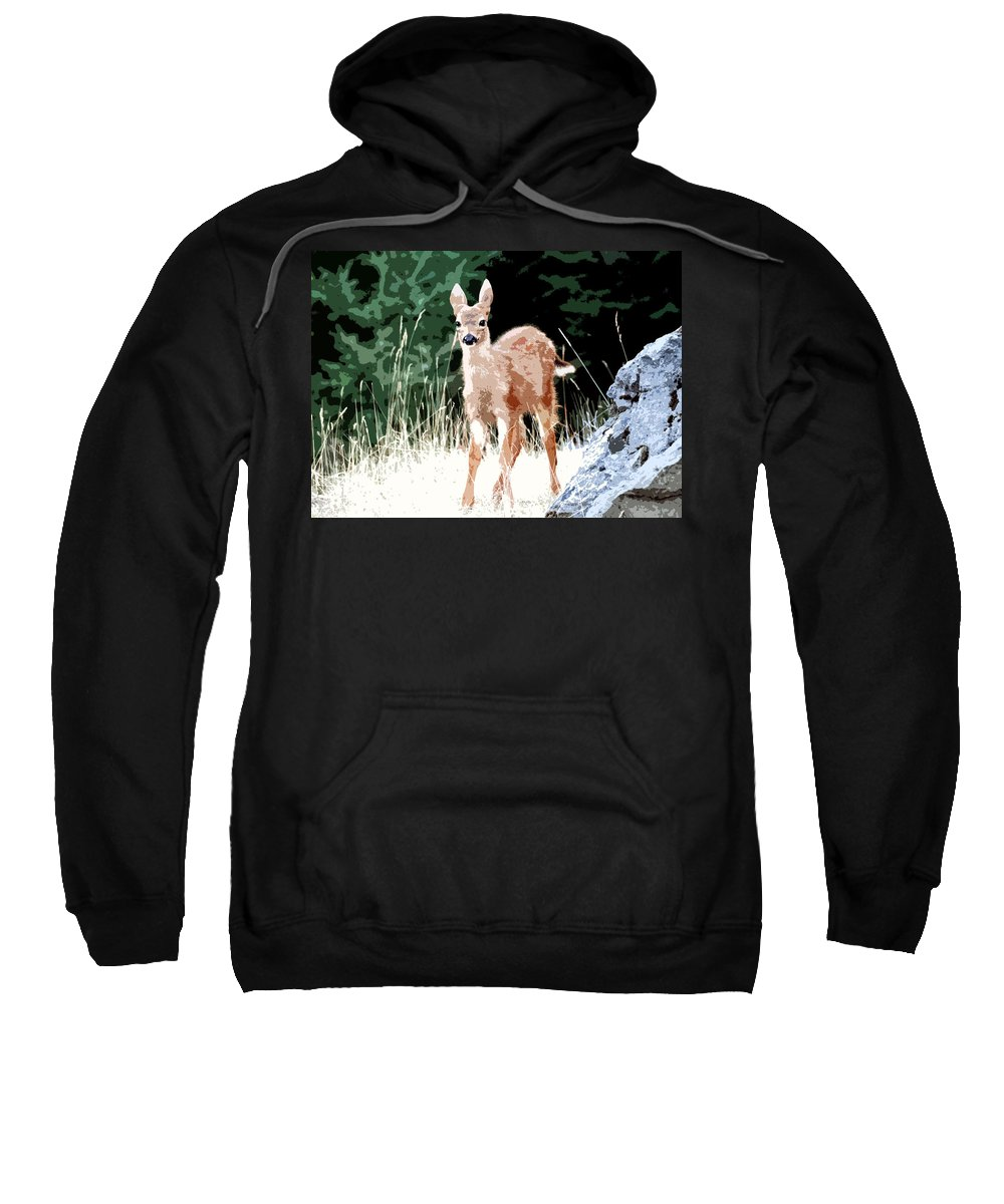 Dear Sweatshirt featuring the painting Babe In The Woods by David Lee Thompson
