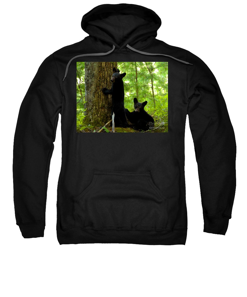Art Sweatshirt featuring the painting Babes In The Wood by David Lee Thompson