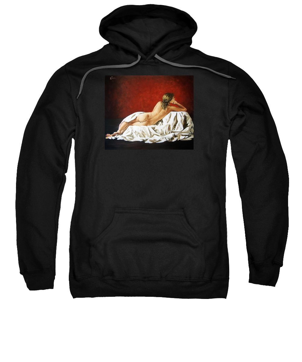 Back Sweatshirt featuring the painting Back Nude by Natalia Tejera