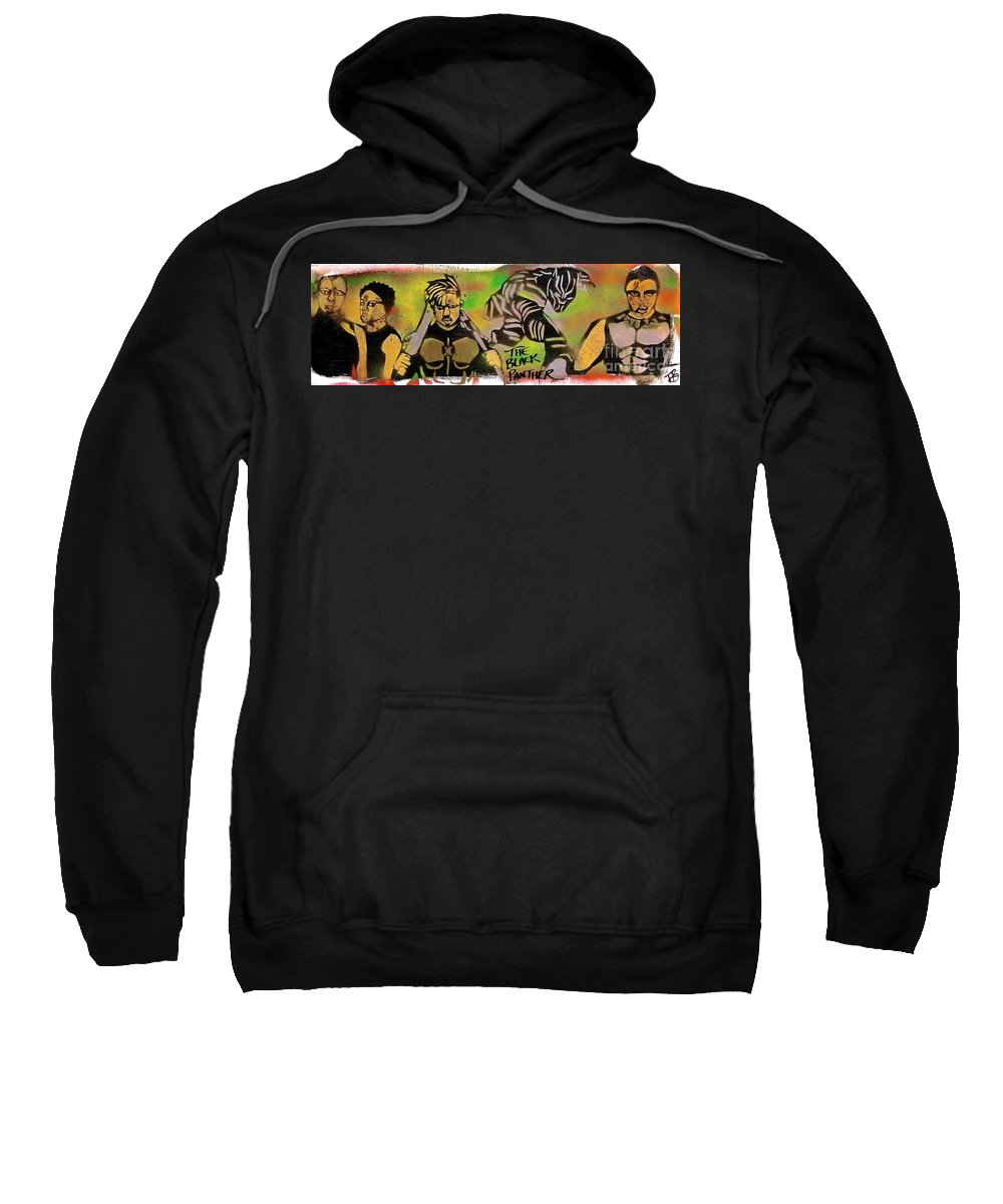 Comic Book Art Sweatshirt featuring the painting Back Panther Street Art #2 by Tony B Conscious