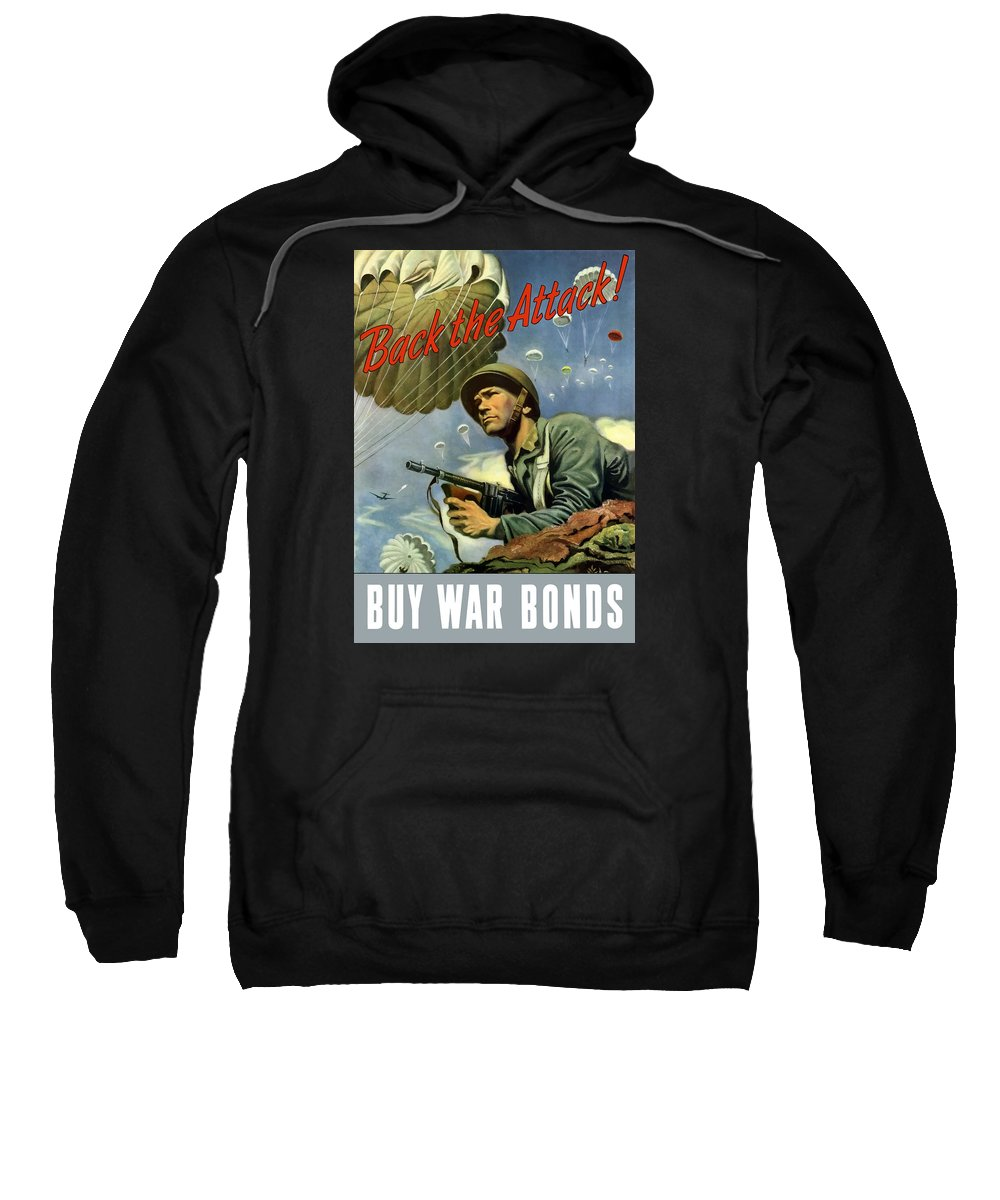Airborne Sweatshirt featuring the painting Back The Attack Buy War Bonds by War Is Hell Store