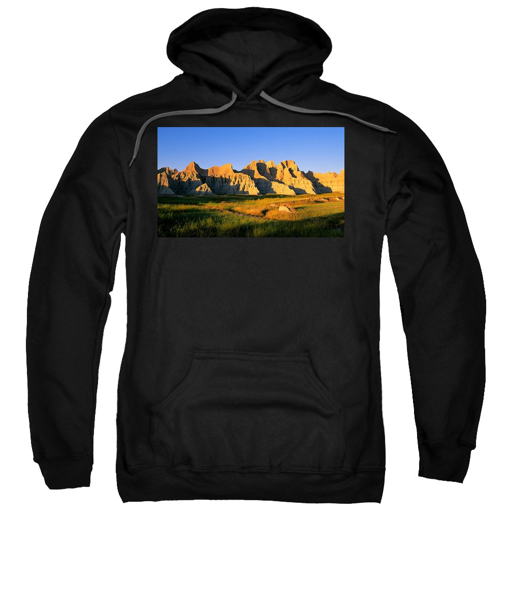 Badlands Sweatshirt featuring the photograph Badlands Buttes, South Dakota by Buddy Mays
