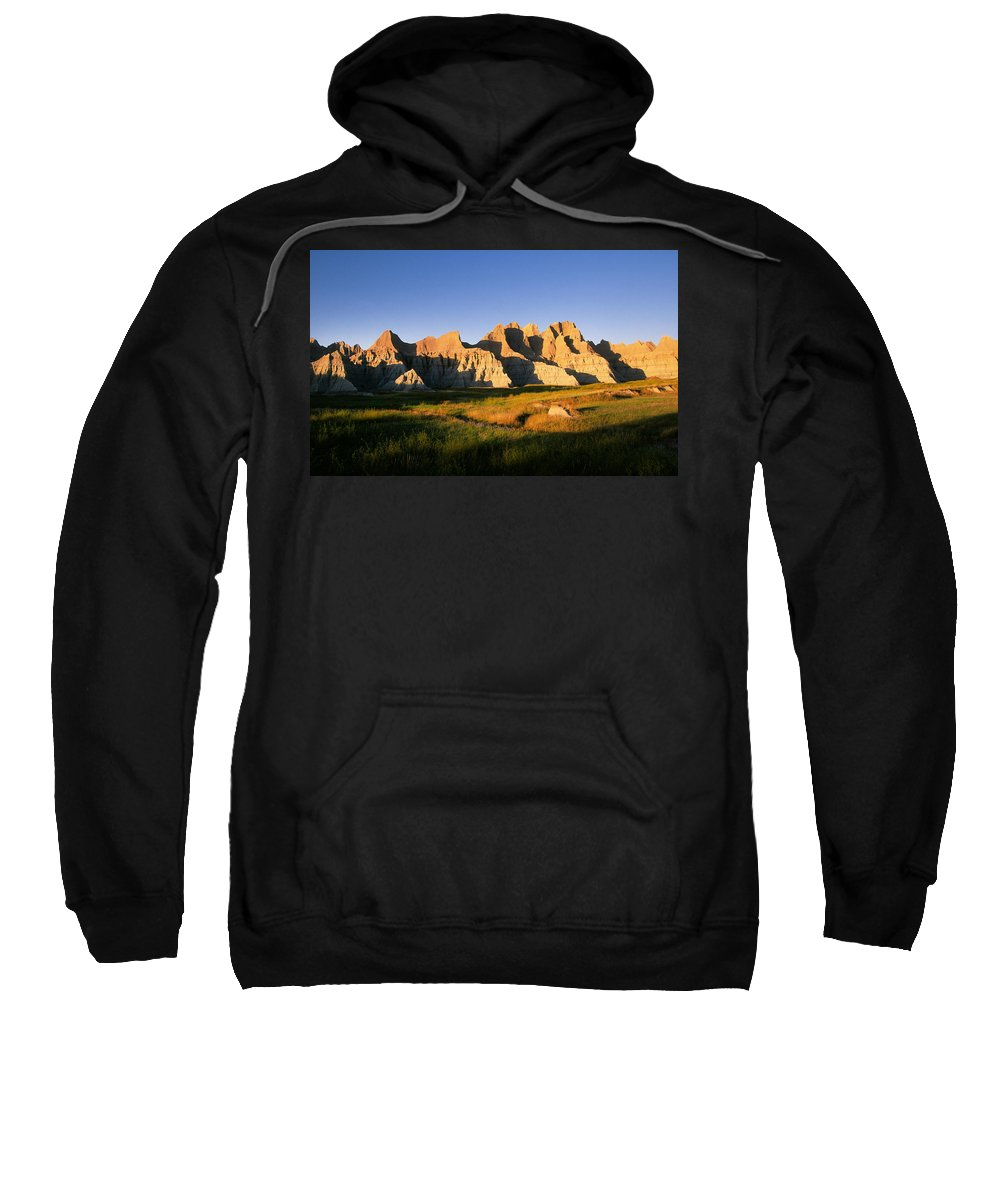 Badlands Sweatshirt featuring the photograph Badlands Scenic, South Dakota by Buddy Mays