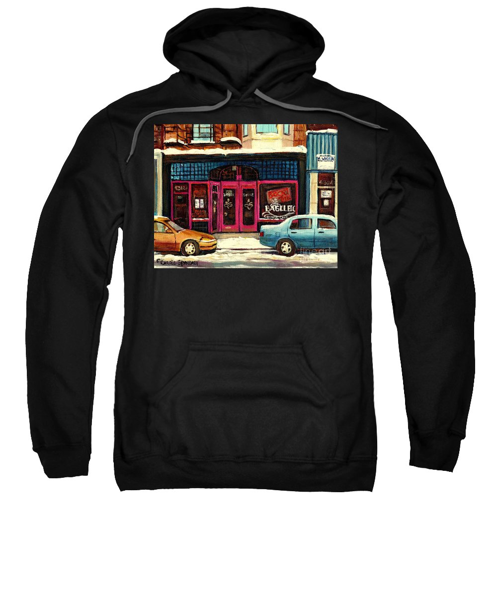 Bagels Etc.montreal Sweatshirt featuring the painting Bagels Etc Montreal by Carole Spandau