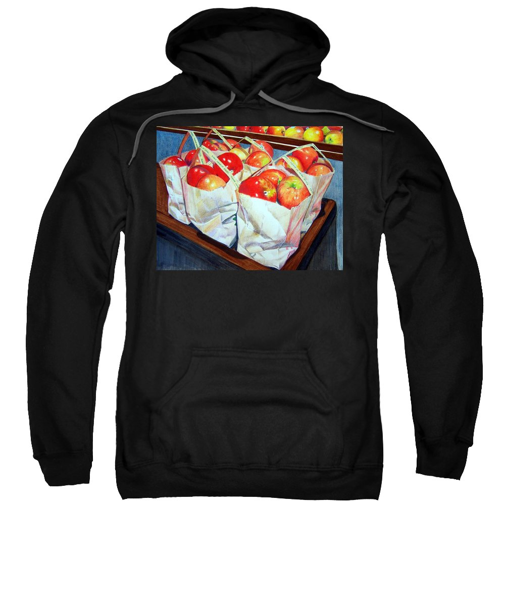 Apples Sweatshirt featuring the mixed media Bags Of Apples by Constance Drescher