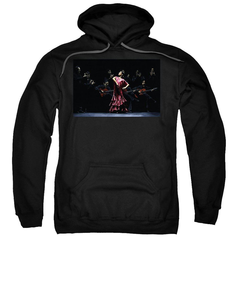 Flamenco Sweatshirt featuring the painting Bailarina Orgullosa Del Flamenco by Richard Young