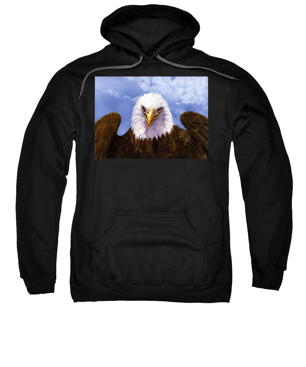 Eagle Sweatshirt featuring the painting Bald Eagle by Catherine G McElroy