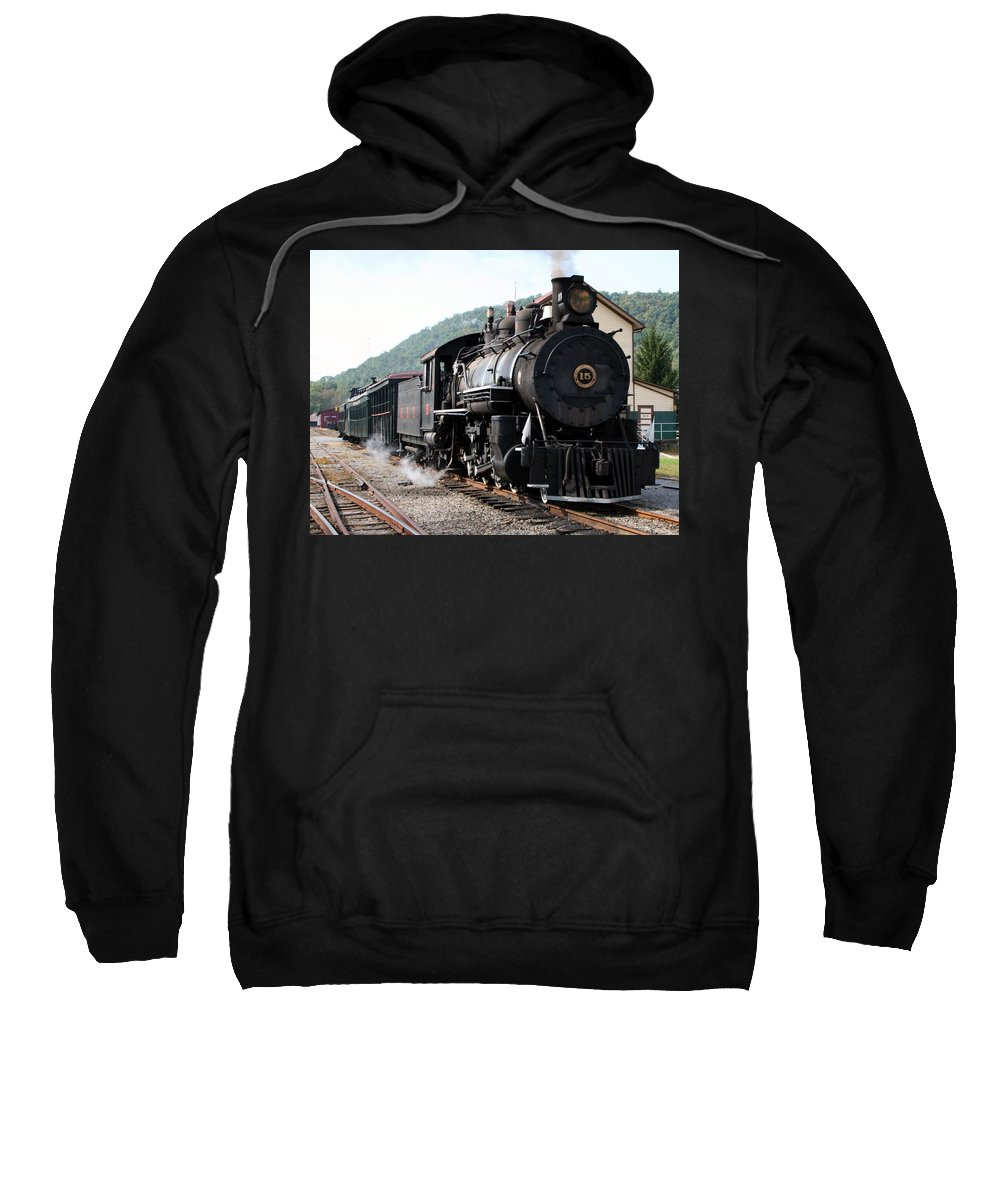 Locomotive Sweatshirt featuring the photograph Baldwin Locomotive Number Fifteen by Rebecca Smith