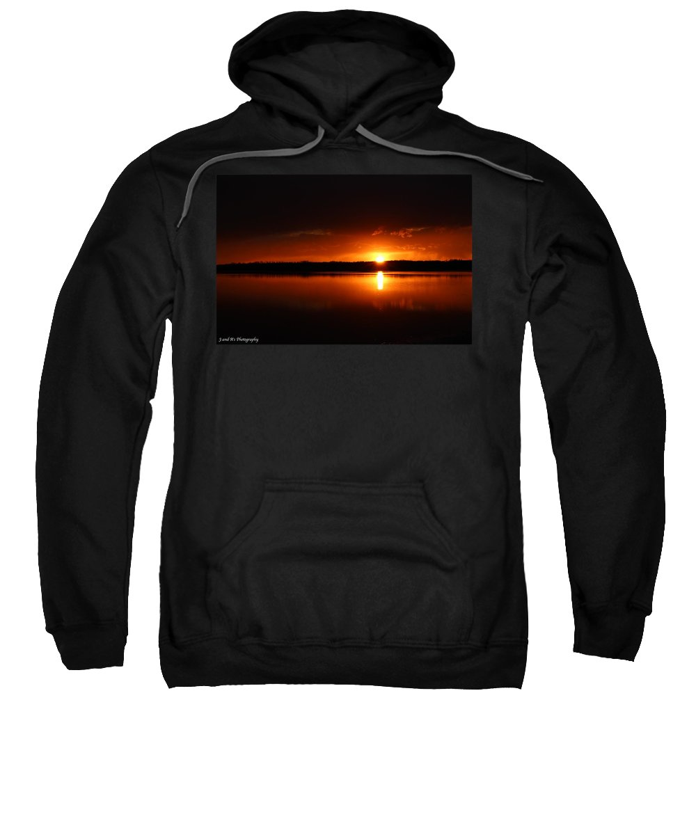 Sunset Reflection Water Pond Sweatshirt featuring the photograph Ball Of Fire by Justyn Ripley