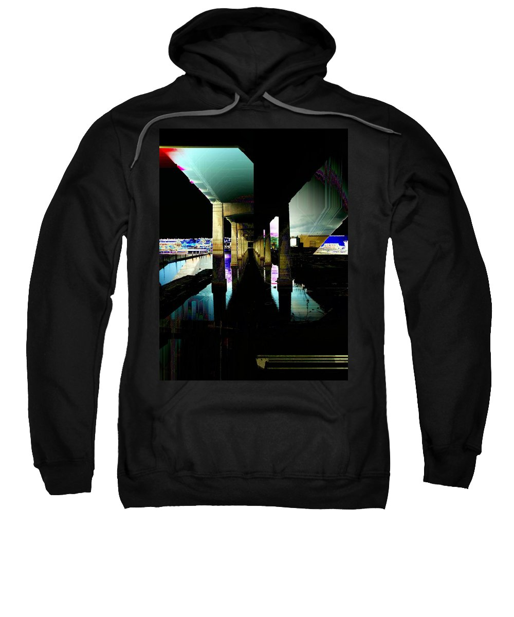 Seattle Sweatshirt featuring the digital art Ballard Bridge by Tim Allen