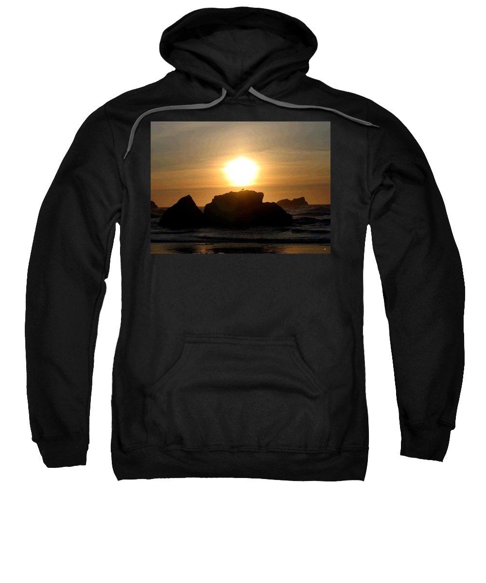 Seagull Sweatshirt featuring the digital art Bandon Beach Silhouette by Will Borden