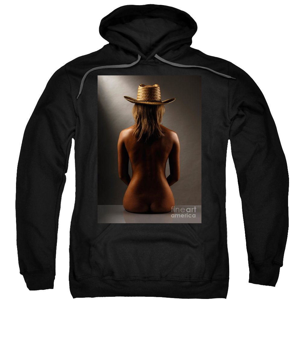 Woman Sweatshirt featuring the photograph Bare Back Of A Woman In A Straw Hat by Oleksiy Maksymenko