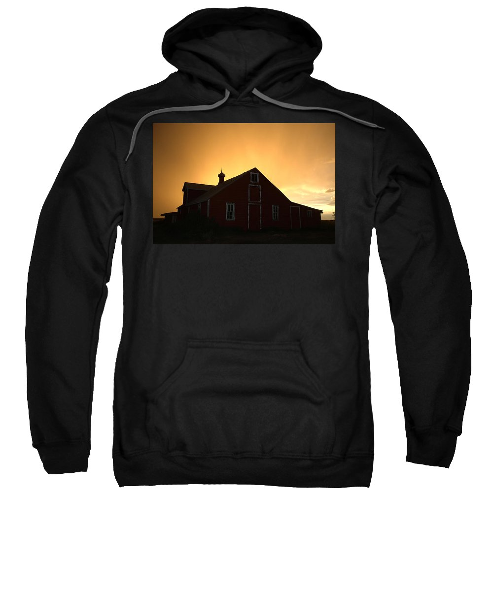 Barn Sweatshirt featuring the photograph Barn At Sunset by Jerry McElroy