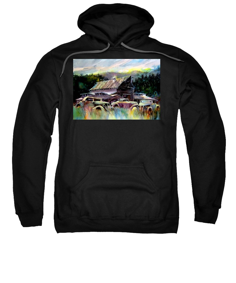 Barn Fresh Cabriolets 37 Fords...barn Sweatshirt featuring the painting Barn Fresh Cabriolets by Ron Morrison