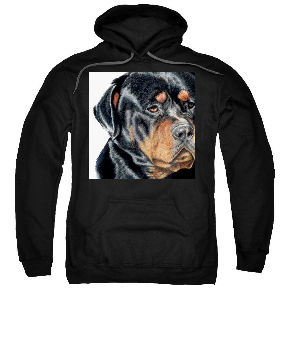 Rottweiler Sweatshirt featuring the drawing Bart Detail by Kristen Wesch