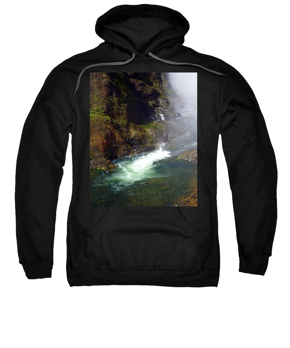 Yellowstone National Park Sweatshirt featuring the photograph Base Of The Falls 1 by Marty Koch