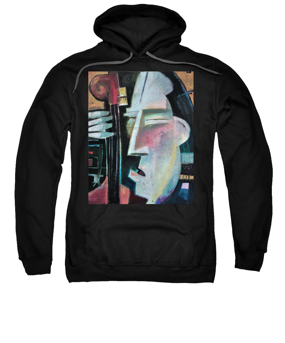 Jazz Sweatshirt featuring the painting Bass Face by Tim Nyberg