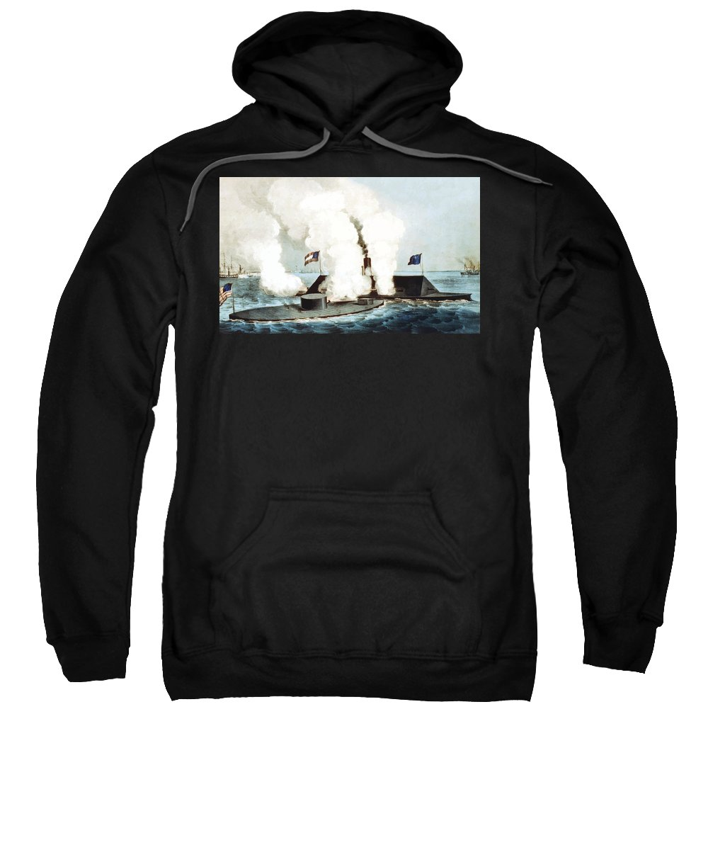 Monitor Sweatshirt featuring the painting Battle Of The Monitor And Merrimack by War Is Hell Store