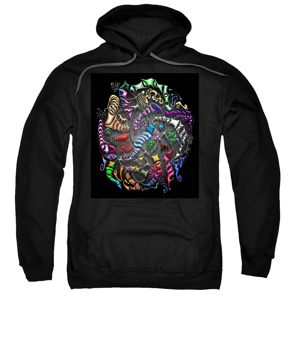 Abstract Sweatshirt featuring the digital art Battling Kites -- Black by Mark Sellers