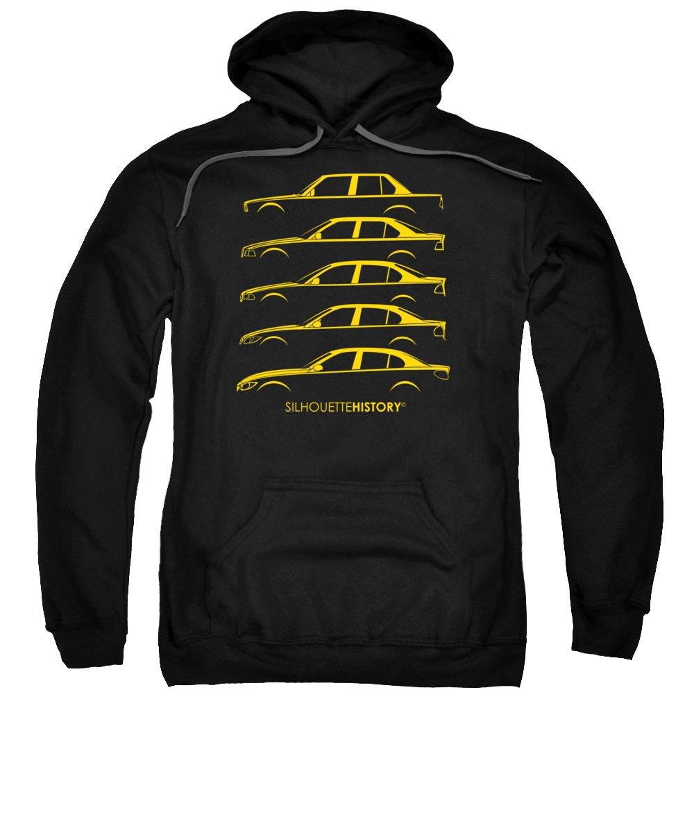 Bavarian Car Sweatshirt featuring the digital art Bavarian Three Sedan Silhouettehistory by Balazs Iker