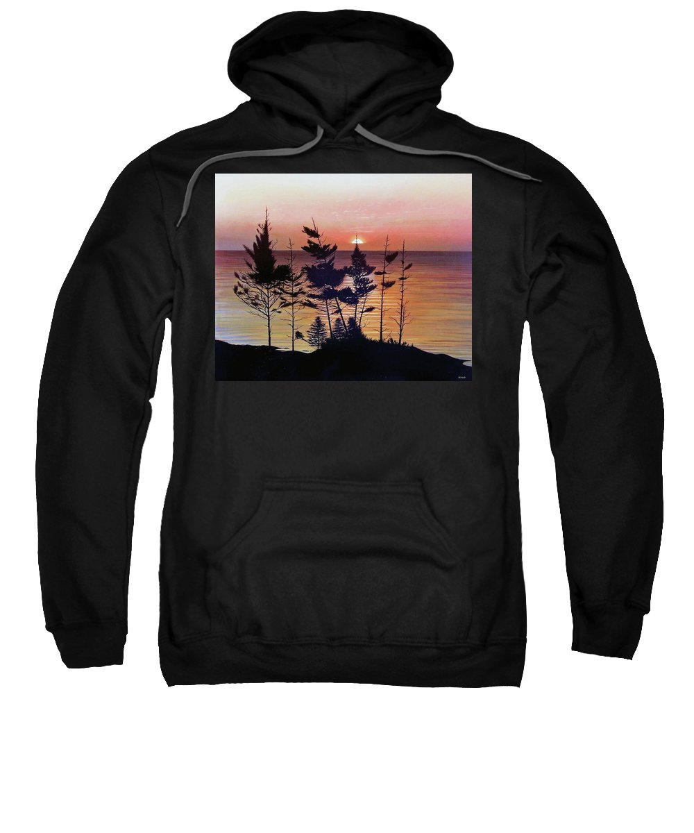 Bay Of Fundy Sweatshirt featuring the painting Bay Of Fundy Sunset by Kenneth M Kirsch