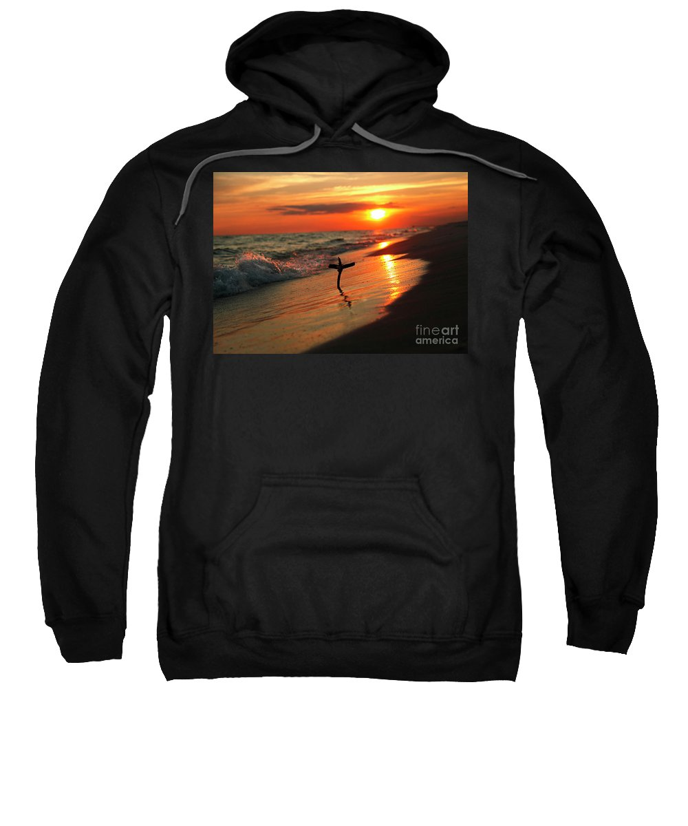 Destin Beach Sweatshirt featuring the photograph Beach Sunset And Cross by Luana K Perez