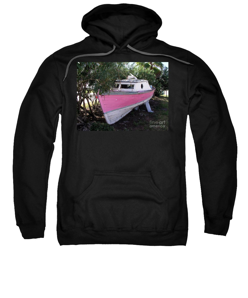 Boat; Old; Faded; Dreams; Pink; Beached; Greek; Wrecked; Paint; Florida; Ship; Flotsom; Grounded; Dr Sweatshirt featuring the photograph Beached Dreams At Port Canaveral by Allan Hughes