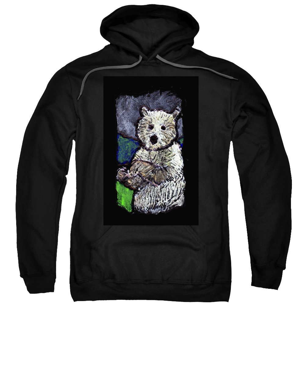 Bear Sweatshirt featuring the painting Bearly Scary by Wayne Potrafka