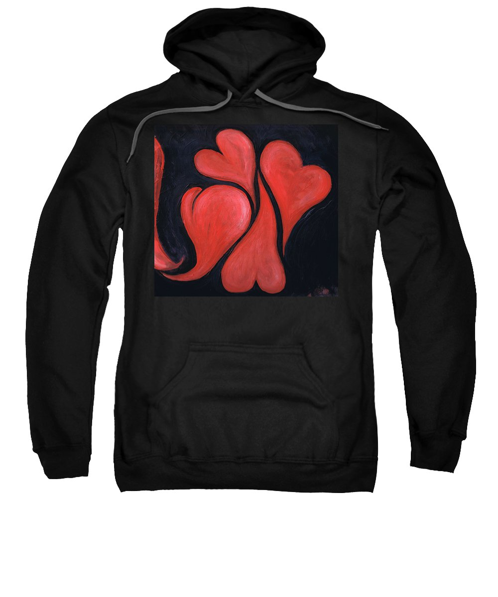 Hearts Sweatshirt featuring the painting Beating Hearts by Nancy Mueller