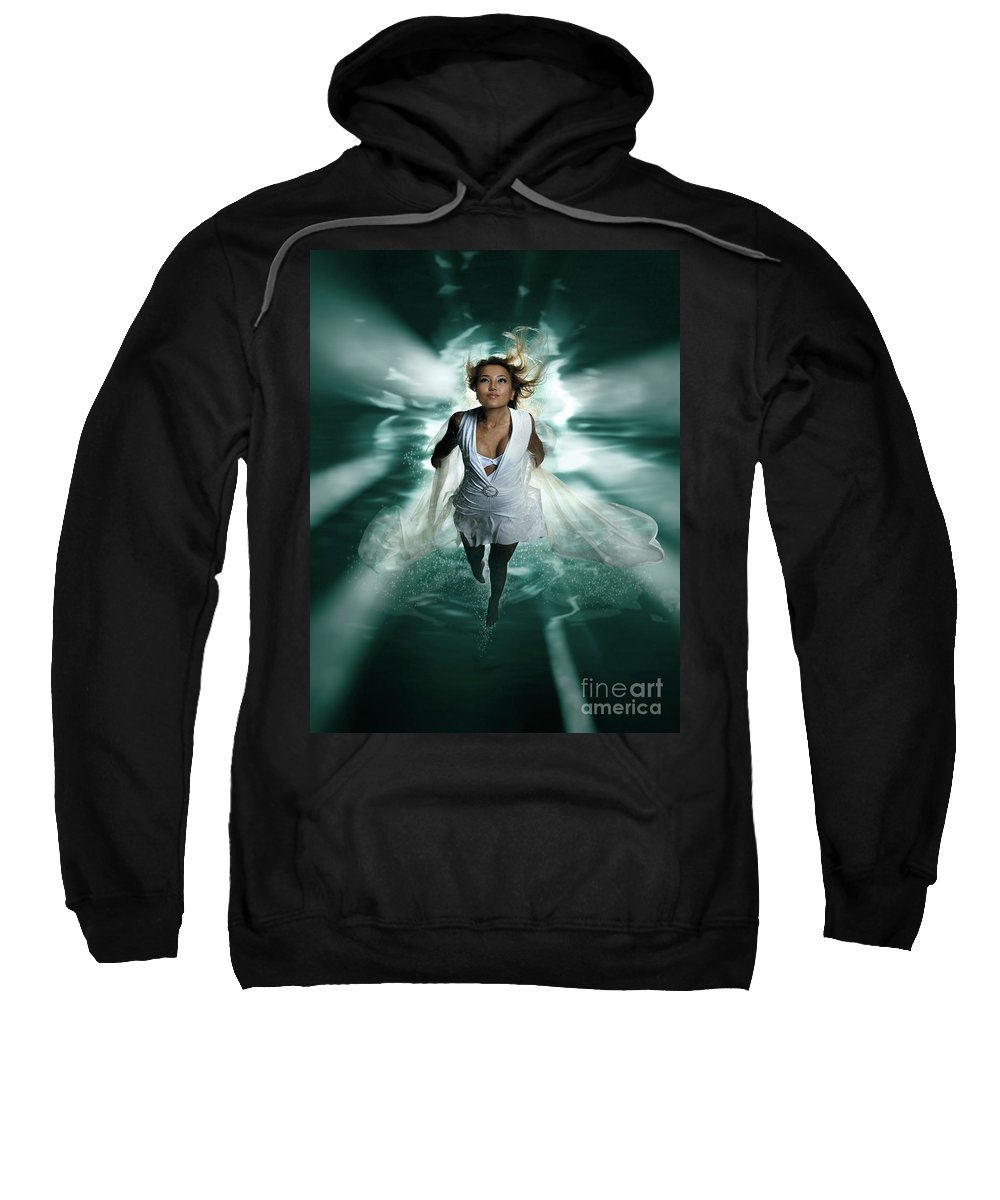 Woman Sweatshirt featuring the photograph Beautiful Woman Diving In The Water by Oleksiy Maksymenko