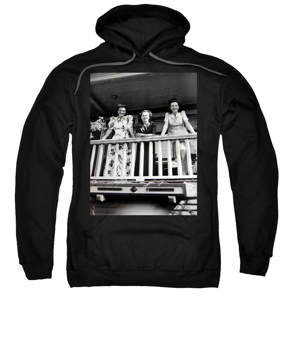 Ladies Women 1950s Classic Black And White Photography Sweatshirt featuring the photograph Beauty And Balconies by Andrea Lawrence