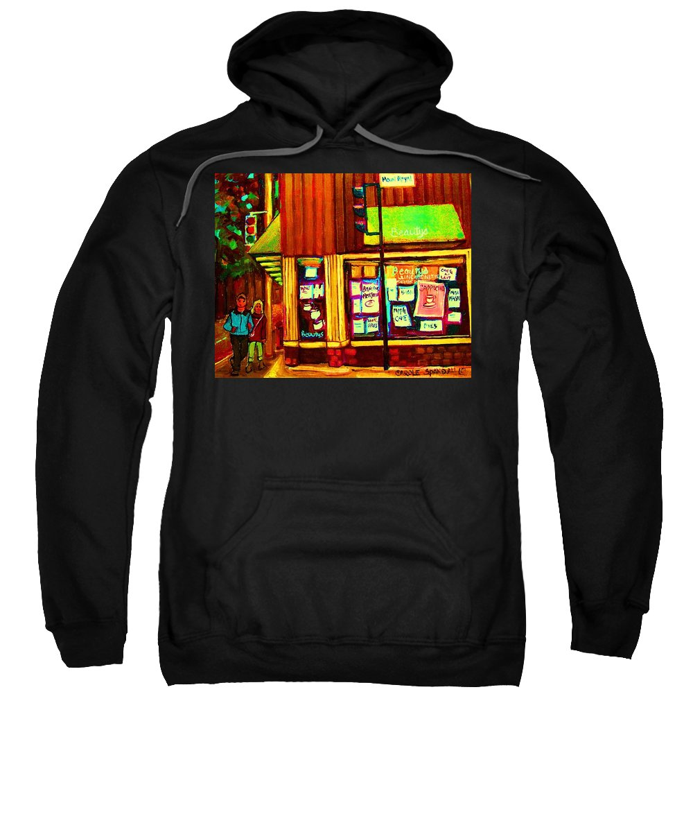 Beautys Restaurant Sweatshirt featuring the painting Beautys Famous Mishmash by Carole Spandau
