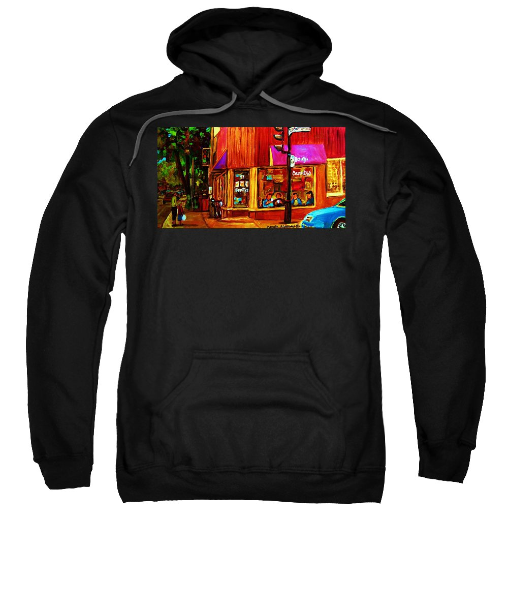 Beautys Restaurant Montreal Sweatshirt featuring the painting Beautys Luncheonette by Carole Spandau