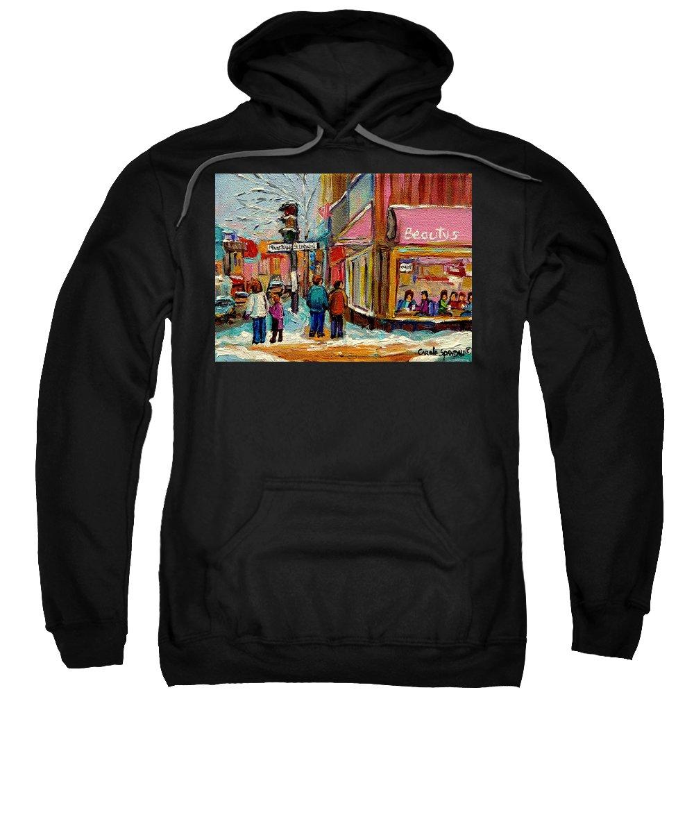 Beautys Luncheonette Montreal Sweatshirt featuring the painting Beautys Luncheonette Montreal by Carole Spandau
