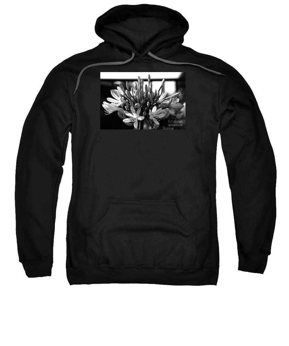 Floral Sweatshirt featuring the photograph Becoming Beautiful - Bw by Linda Shafer