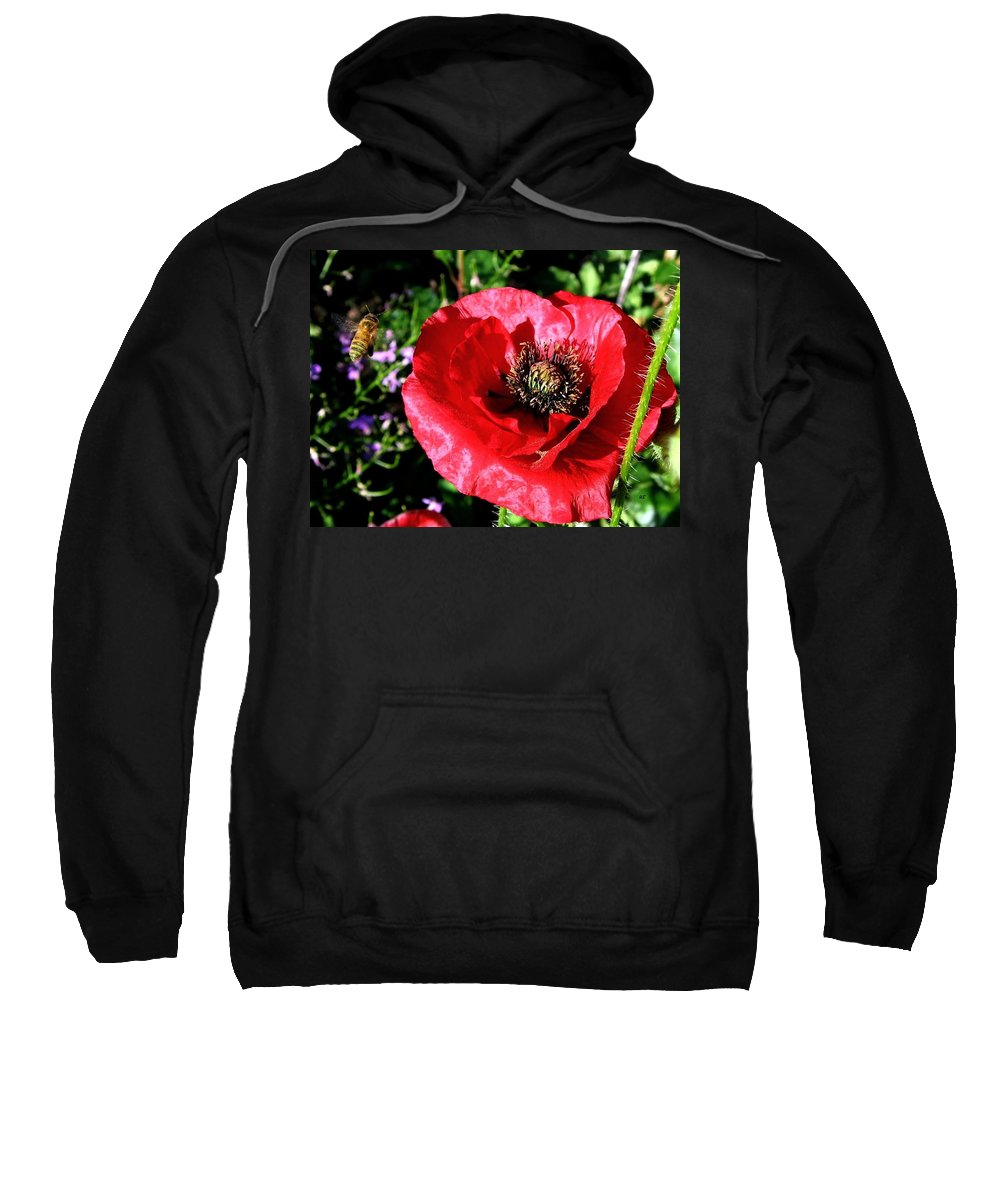 Bee Sweatshirt featuring the photograph Bee And Red Poppy by Will Borden