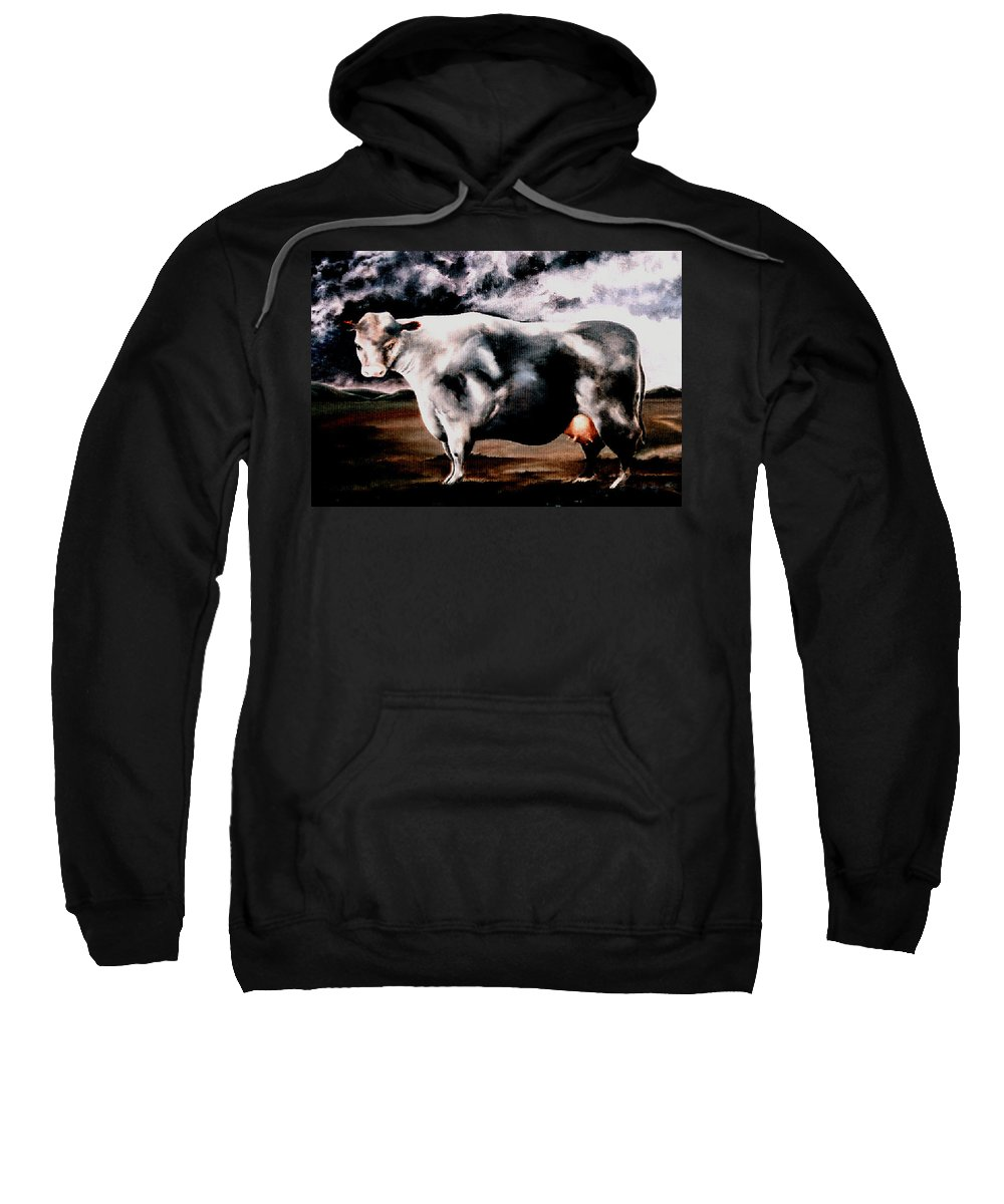 Cow Sweatshirt featuring the painting Beef Holocaust Iv by Mark Cawood