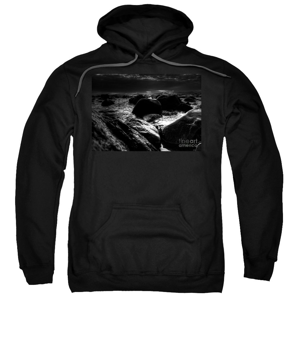 B W Seascape Sweatshirt featuring the photograph Before The Storm - Seascape by P Donovan