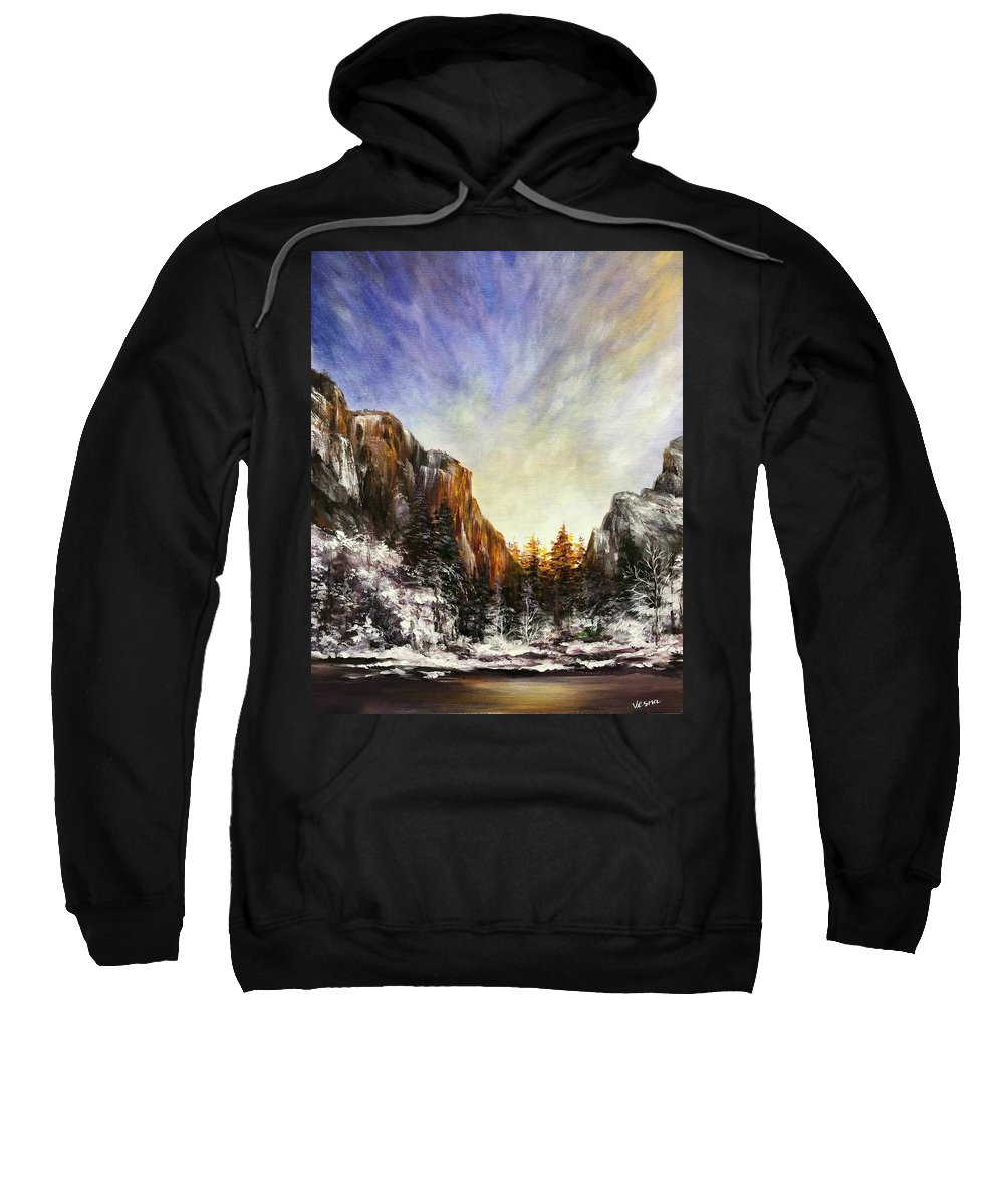 Beautiful Sweatshirt featuring the painting Behind The Mountains by Vesna Delevska